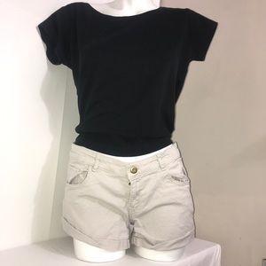 H&M Cargo Button Zip Up Cuffed Casual Mini Shorts